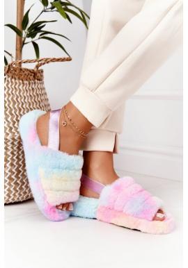 Farebné kožušinové papuče na platforme