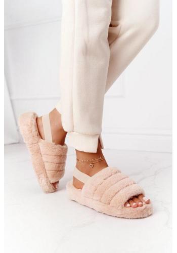 Béžové kožušinové papuče na platforme