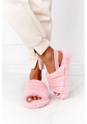Módne ružové kožušinové papuče na platforme