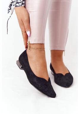 Klasické čierne balerínky na strieborných podpätkoch pre dámy