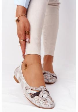 Trendy kožené balerínky pre dámy v béžovej farbe