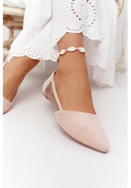 Semišové špicaté balerínky pre dámy v béžovej farbe