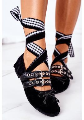 Velúrové čierne balerínky s viazaním pre dámy