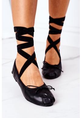 Módne dámske čierne balerínky so stužkou