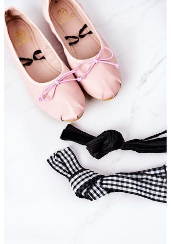 Dámske balerínky s viazaním ružovej farby
