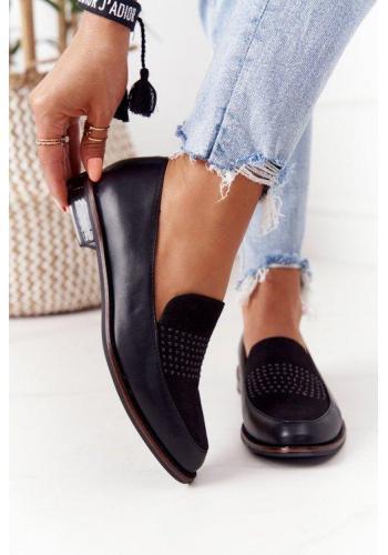 Elegantné čierne mokasíny pre dámy