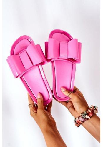 Módne gumené šľapky s mašľou v ružovej farbe