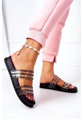 Dámske gumené papuče zdobené zirkonom čiernej farby