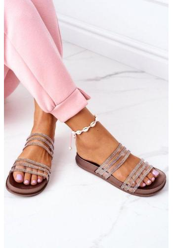 Zlaté gumené papuče zdobené zirkonom pre dámy