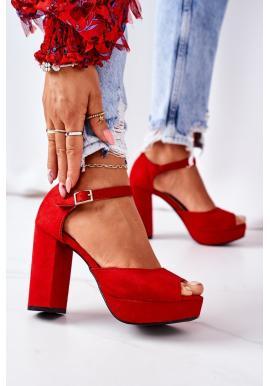 Červené sandále pre dámy na vysokom podpätku