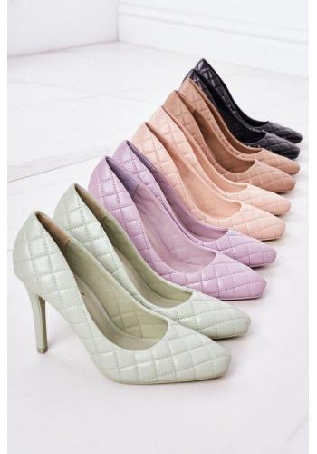 Trendy dámske prešívané lodičky vo fialovej farbe