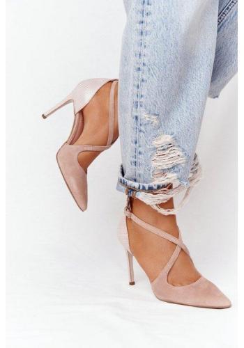 Elegantné semišové sandále ružovej farby pre dámy