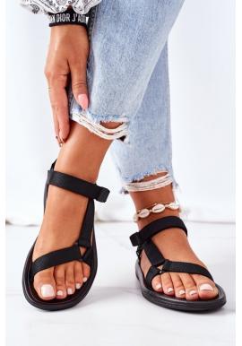 Dámske športové sandále čiernej farby na suchý zips