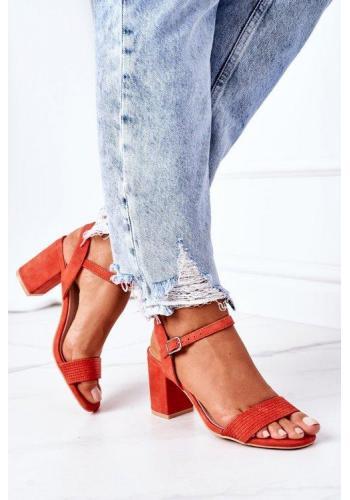 Semišové oranžové sandále na podpätku pre dámy