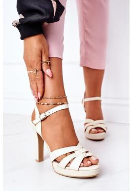 Módne sandále pre dámy béžovej farby na podpätku