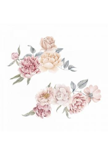 Kvetinová sada nálepiek s motívom pivónií a ruží - väčšie