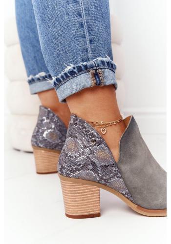 Dámske kožené topánky na širokom podpätku v popolavej farbe
