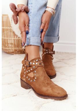 Hnedé ažúrové topánky s nitmi pre dámy