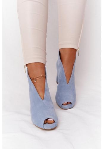 Svetlomodré semišové topánky na stabilnom podpätku pre dámy