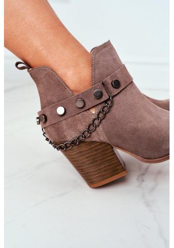 Dámske velúrové topánky na širokom opätku v hnedej farbe