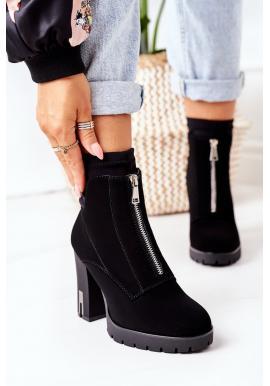 Čierne krátke čižmy na stabilnom podpätku pre dámy