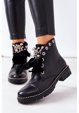 Čierne členkové topánky s metalickými perlami pre dámy