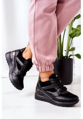 Čierne módne Sneakersy na klinovom podpätku pre dámy
