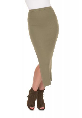 Khaki rebrovaná maxi sukňa s rázporkom pre dámy