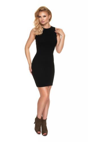 Čierne priliehavé rebrované šaty bez rukávov pre dámy