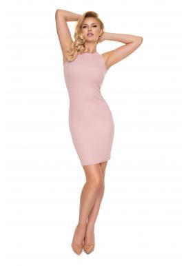 Priliehavé dámske rebrované šaty ružovej farby bez rukávov
