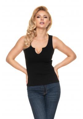Dámske rebrované tričko s véčkovým výstrihom v čiernej farbe