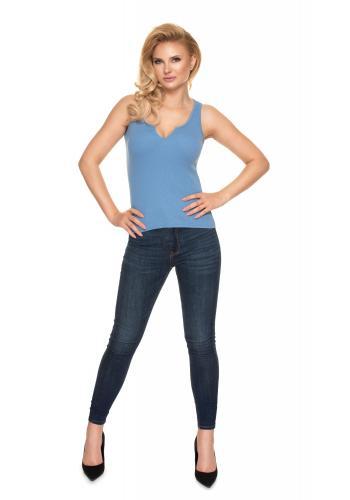 Modré rebrované tričko s véčkovým výstrihom pre dámy