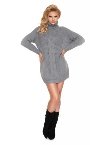 Dámske svetrové mini šaty s rolákom v sivej farbe