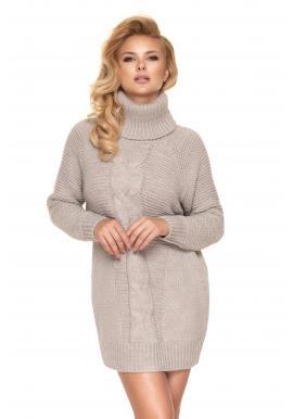Béžové svetrové mini šaty s rolákom pre dámy