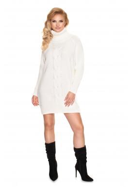Svetrové dámske mini šaty krémovej farby s rolákom