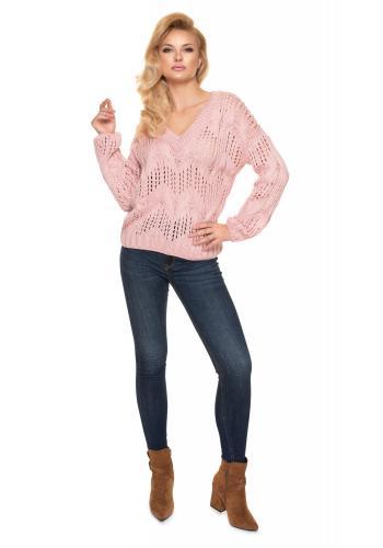 Dámsky ažúrový oversize sveter s véčkovým výstrihom v ružovej farbe