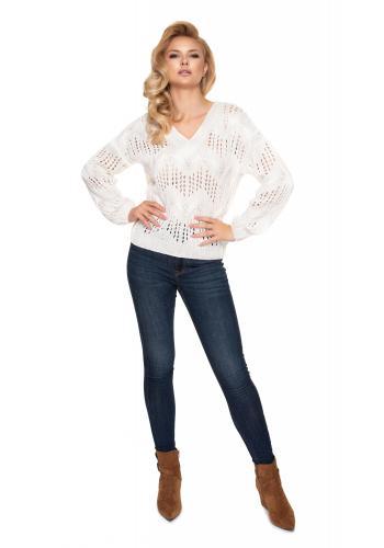Krémový ažúrový oversize sveter s véčkovým výstrihom pre dámy