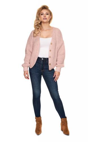 Svetloružový krátky oversize sveter s drevenými gombíkmi pre dámy