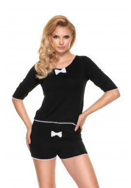 Dámske dvojdielne pyžamo s mašľou v čiernej farbe