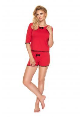Dvojdielne dámske pyžamo červenej farby s mašľou