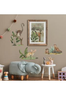 Sada safari nálepiek v podobe malých divokých zvierat