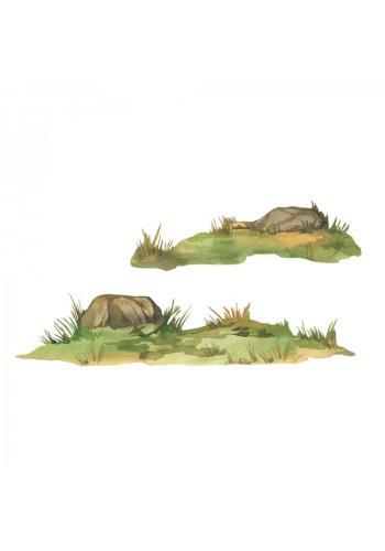 Sada nálepiek v podobe trávy a skaly