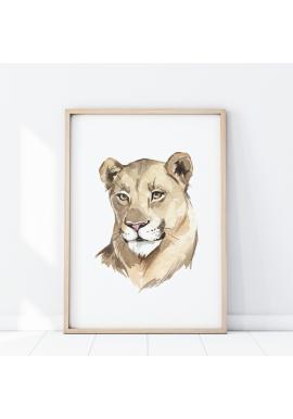 Nástenný safari plagát s portrétom levice