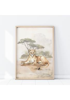 Safari plagát s motívom levice