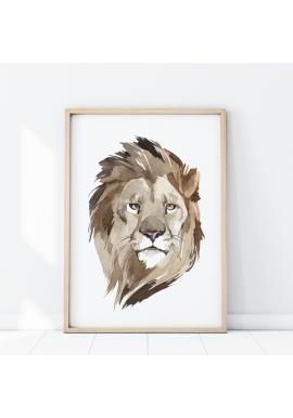 Plagát s portrétom leva na bielom pozadí