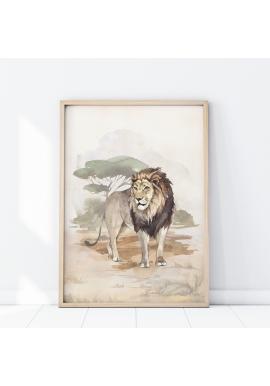 Nástenný safari plagát s motívom leva