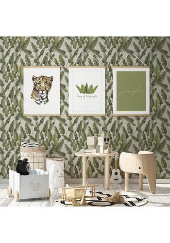 Nástenný safari plagát s portrétom leoparda na bielom pozadí