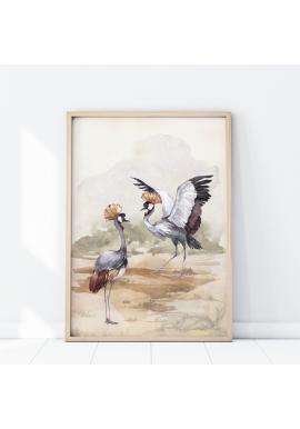 Safari plagát s motívom žeriavov korunkatých