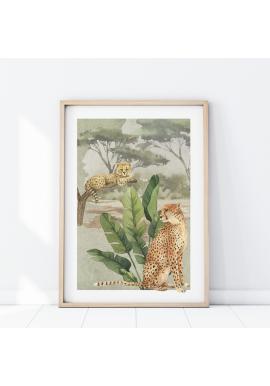 Nástenný safari plagát s motívom gepardov