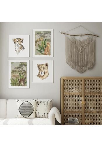 Safari plagát s portrétom geparda na bielom pozadí